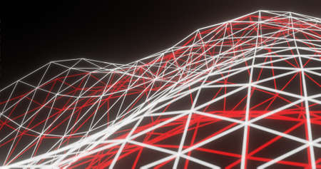 Abstract background, glowing white and red polygon net / connection, on dark space - 3D rendering