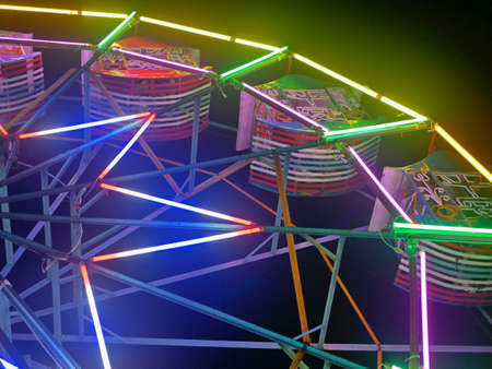 A ferris wheel, decorated with colorful lights, at a local temple fair in Thailand during the night