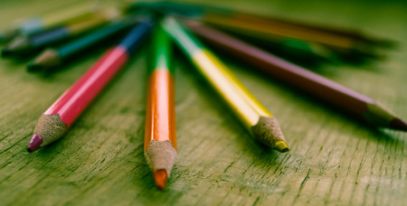 stylus: colored pencils on wood background vintage effect Stock Photo