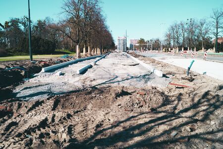 Road repairs in Europe Street Earth sand concrete renovation works
