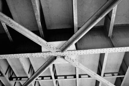 Metal Bridge construction unique background black and white photo Banque d'images