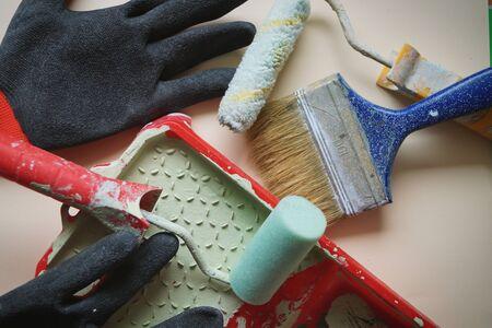 work tool painter gloves roller paint brush repair flat house isolate