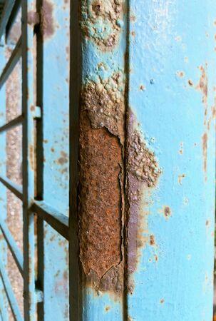 rust prod brown blue got the rail of the balcony a unique background texture macro photo Banque d'images