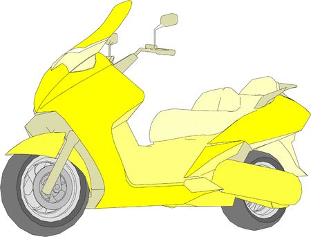 model yellow moped on a white background. graphic image.