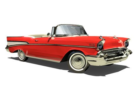 Rode oude auto met een open top. Cabriolet. Geïsoleerd op een witte achtergrond. Render. 3D. Stockfoto
