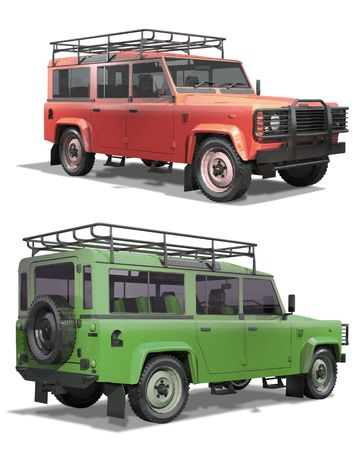 Wheel drive off-road vehicle on a white background. Isolation, render. Ready to apply logo and inscriptions.
