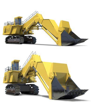 Heavy equipment. Excavator with bucket on a white background. Zdjęcie Seryjne - 6129227