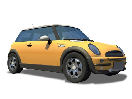 Compact little sports car on a white background. photo