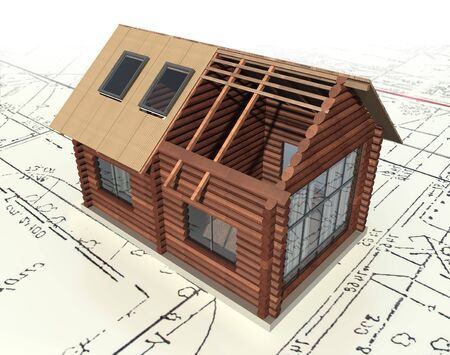 pitched roof: Wooden log house on the master plan. 3d model isolated on a white background. Stock Photo