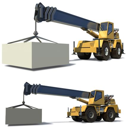 Mobile crane with a load on the jib crane. The cargo is ready for Drawing. White background. Stock Photo