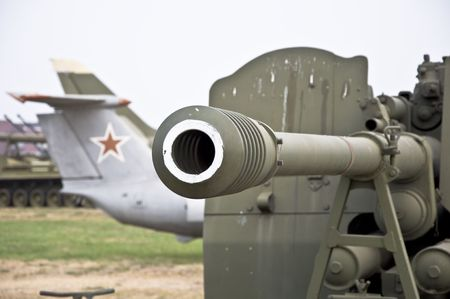 Barrel of the gun. Heavy armored weapons. Military equipment.