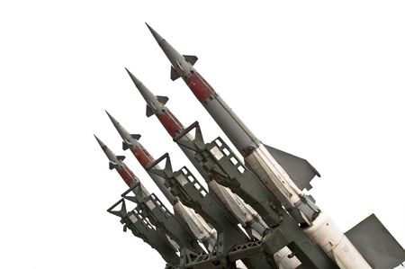 Several combat missiles aimed at the sky. Isolated on a white background. Missile weapons. Zdjęcie Seryjne - 7632325