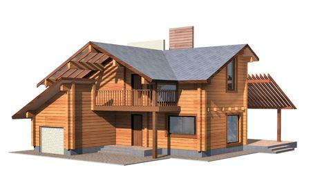 Residential house of wooden timber. 3d model render. Isolation on white background. Real estate Zdjęcie Seryjne - 7760917