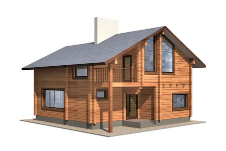 Residential house of wooden timber. 3d model render. Isolation on white background. Real estate Zdjęcie Seryjne - 7760918