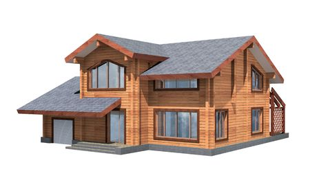 wooden beams: Residential house of wooden timber. 3d model render. Isolation on white background. Real estate