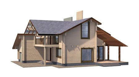 wooden beams: Residential house of paint wooden timber. 3d model render. Isolation on white background. Real estate