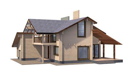 Wohnhaus der Lack-Holz-Holz. 3D Modell rendern. Isoliert auf weißem Hintergrund. Immobilien