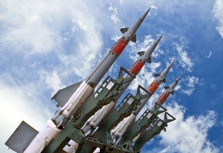 armament: Several combat missiles aimed at the blue sky. Missile weapons.
