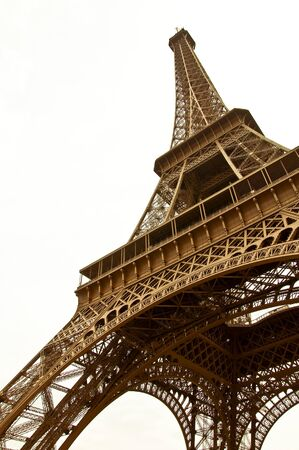 Eiffel Tower on a white background. In the sepia. A symbol of Paris. Stock Photo