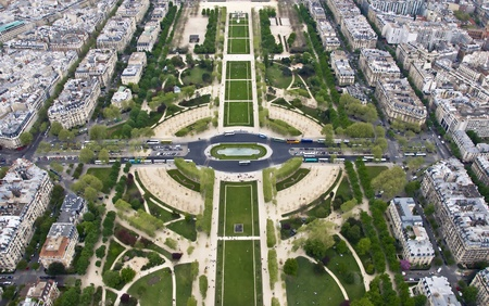 Paris from a height. Field of Mars. View from the Eiffel Tower. Stock Photo