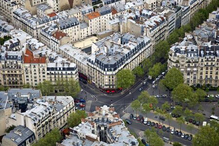 Center of Paris from the top. Roofs and streets. Panorama City Zdjęcie Seryjne - 9501589