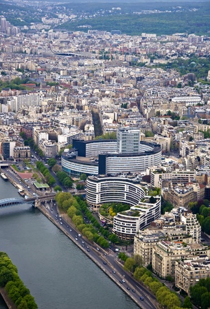 arial views: Paris. River Seine with the height. Urban scene.