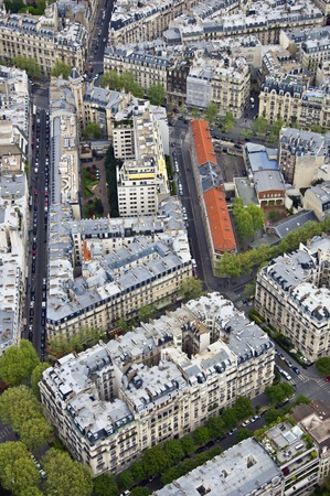 Center of Paris from the top. Roofs and streets. Panorama City Stock Photo