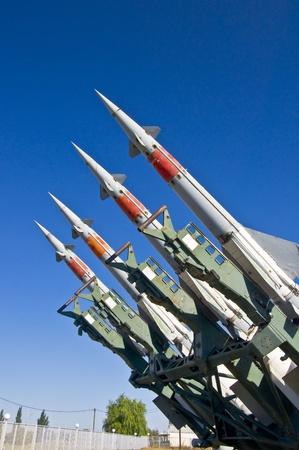 Antiaircraft rockets on the launcher against blue sky. Zdjęcie Seryjne - 10344481