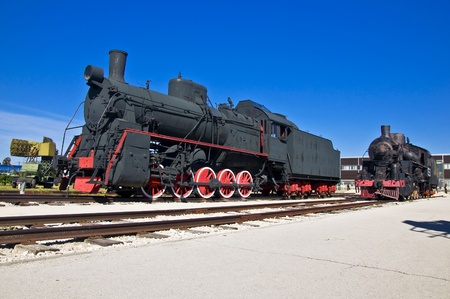 national historic site: Old steam locomotive at the depot. Museum of Technology in Togliatti.