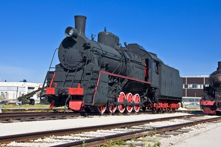 Old steam locomotive at the depot. Museum of Technology in\ Togliatti.