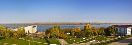 Panorama of a large city on the banks of the river. Samara, Russia. Autumn Landscape. Zdjęcie Seryjne
