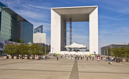 PARIS FRANCE - APRIL 14: Grand Arch. Business district La Defense April 14, 2011 in Paris, France. View of La Defense. View of the Grand Arch.