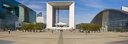 PARIS FRANCE - APRIL 14: Business district La Defense April 14, 2011 in Paris, France. Panorama of La Defense. View of the Grand Arch - monumental building in the district La Defense, west Paris suburb in the commune Puteaux. Was inaugurated in July 1989.