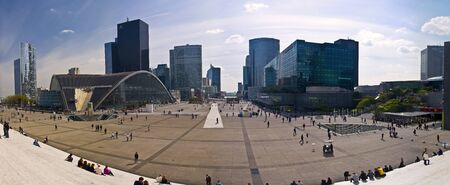 xvi: PARIS FRANCE - APRIL 14: Business district La Defense April 14, 2011 in Paris, France. View of Defense from the steps of the Grand Arch. Modern business and residential district in the near suburb of Paris, west XVI District, the Department of the O-de-Se Editorial