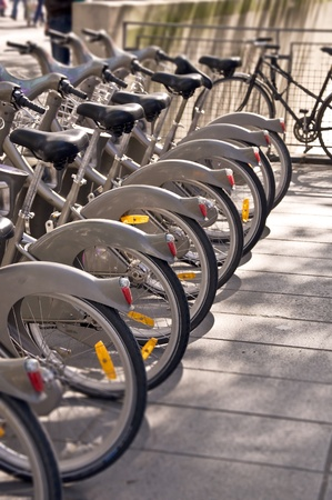 Parking of bicycles in Paris. City life of Paris. Photo with tilt-shift lens