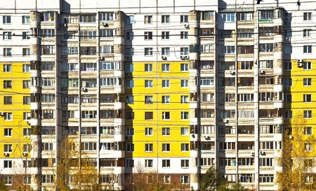 social apartment: Social facade of an apartment building. Different balconies and yellow panels. Sleeping areas of Samara.