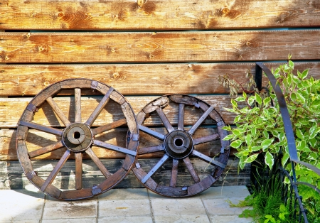 old wooden cart with grass on title base, gardening idea Stock Photo