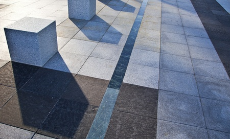 footway: Urban landscape  Paving business areas of Madrid Stock Photo