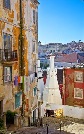 Old street in Lisbon  Portugal, Europe Stock Photo
