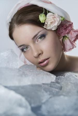 Beautiful naked girl on the tulip flower, nakedfamouspics