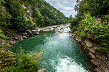 mountain river, mountain landscape, nature of Ukraine, the flow of water, the river bed
