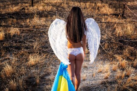 angel alone: Angel in the field, sad angel, angel girl, the girl with the flag, angel wings Stock Photo