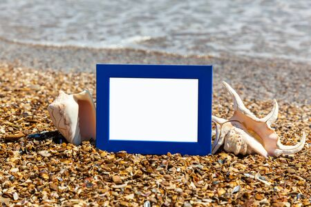 sea shells on beach: photo frame on the beach, photography on the beach, sea shells, beach vacation, beach pebbles, picture, frame, beach, photo, sunglasses, reflection, background, sand, black sea, summer