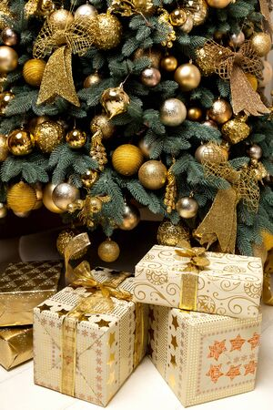 christmas gift: Christmas presents under the Christmas tree, gifts to the new 2016 Christmas surprise