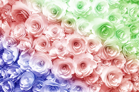 beautiful rose: wall with a background of paper flowers handmade craft creative abstraction