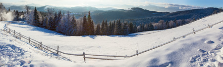 panoramas: mountain landscapes and panoramas of snow-capped mountain peaks in the winter ski resorts
