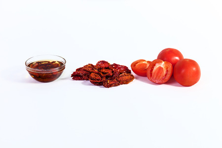 mini oven: dried tomatoes cooked for dried tomatoes, sun-dried tomatoes with spices for Italian cuisine