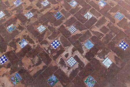 spanish tile: Inlaid tile in old Spanish baths,Tile in old Spanish baths