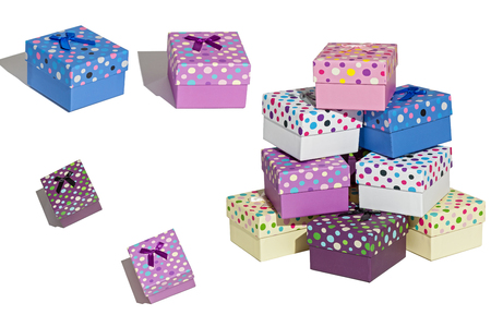 Gift boxes.Set of gift boxes. Photo of gift boxes on a white background .