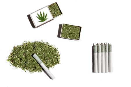 narcotic: Rolled cigarettes with cannabis.Cannabis gathered in pile and in two matchboxes lays on the white table with rolled cigarettes with hemp.